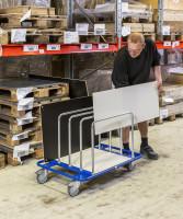 Leichter Plattenwagen, 1000x700x690 mm, 150 kg Tragfähigkeit, Blau / Verzinkt