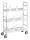 Mobiler Etagenwagen, 3 Ebenen, 790x290x1140 mm, 75 kg Tragfähigkeit, Verzinkt / Weiß