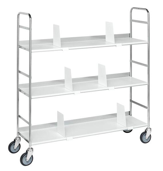 Mobiler Etagenwagen, 3 Ebenen, 1000x290x1140 mm, 75 kg Tragfähigkeit, Verzinkt / Weiß