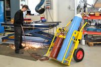 Gasflaschenwagen, 750x1160x1170 mm, 250 kg Tragfähigkeit, Gelb, luftbereift