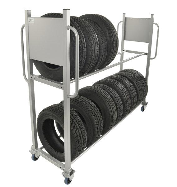 Reifentransportwagen, 2 Ebenen, 2030x720x1620 mm, 300 kg Tragfähigkeit, Grau, ohne Bremsen