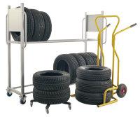 Reifentransportwagen, 2 Ebenen, 2030x720x1580 mm, 300 kg Tragfähigkeit, Grau, mit Bremsen