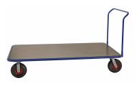 Extra großerPlattformwagen, 2000 x 1000 mm, 500 kg Tragfähigkeit, Blau / MDF, braun, luftbereift