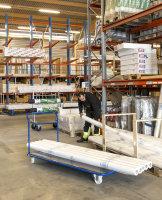 Extra großerPlattformwagen, 2000 x 1000 mm, 500 kg Tragfähigkeit, Blau / MDF, braun