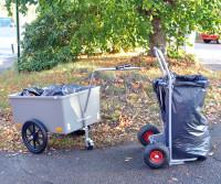 Müllsackständer , 600x600x900 mm, 150 kg Tragfähigkeit, Grau, luftbereift