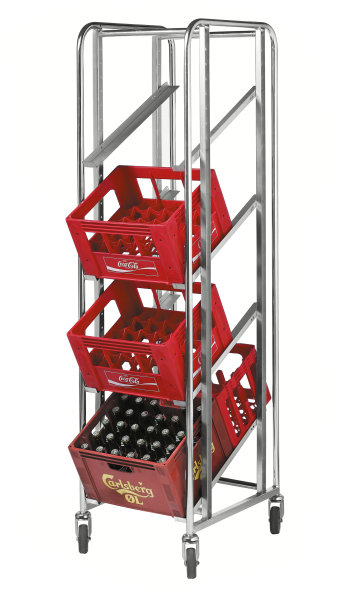 Kistenwagen, 4 Ebenen, 435x585x1880 mm, 150 kg Tragfähigkeit, Verzinkt, mit Bremsen