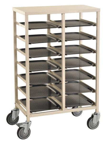 Tablettwagen, 14 Ebenen, 720x430x1095 mm, 150 kg Tragfähigkeit, Weiß