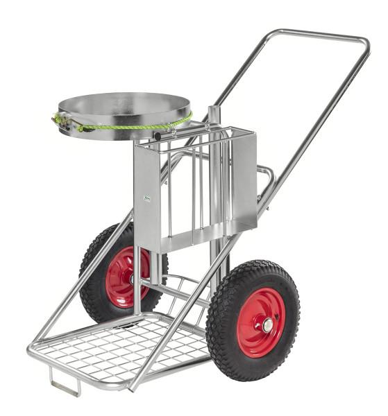 Reinigungswagen, 1200x820x1000 mm, 150 kg Tragfähigkeit, mit unplattbaren Rädern, Verzinkt