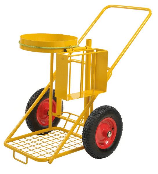 Reinigungswagen, 1200x820x1000 mm, 150 kg Tragfähigkeit, mit unplattbaren Rädern, Gelb