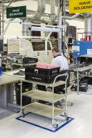 ESD-Etagenwagen mit 2 Böden, 2 Ebenen, 760 x 440 mm, 150 kg Tragfähigkeit, Verzinkt, mit Bremsen