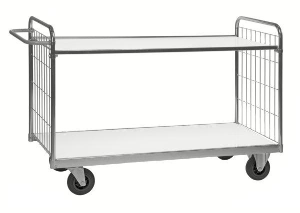 Serie 9000 Transportwagen, Etagenwagen, 2 Ebenen, 1000 x 600 mm, 300 kg Tragfähigkeit, Verzinkt / Weiß, mit Bremsen