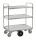 Kommissionierwagen mit 3 Böden, 3 Ebenen, 1250 x 630 mm, 300 kg Tragfähigkeit, Verzinkt / Weiß
