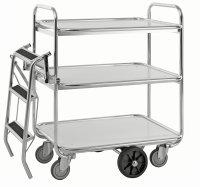 Kommissionierwagen mit 3 Böden, 3 Ebenen, 850 x 630 mm, 300 kg Tragfähigkeit, Verzinkt / Weiß