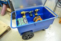 Werkzeugwagen, Baustellenwagen, 1260x760x720 mm, 400 kg Tragfähigkeit, Blau