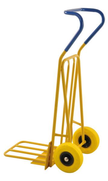 Gepäck- & Sackkarre, 780x560x1320 mm, 250 kg Tragfähigkeit, mit unplattbaren Rädern, Gelb