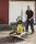 Handwagen, 1600x910x900 mm, 150 kg Tragfähigkeit, Schwarz / Birkenholz
