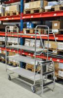 Serie 8000 Transportwagen, Etagenwagen, 4 Ebenen, 1200 x 425 mm, 250 kg Tragfähigkeit, Verzinkt / Weiß, ohne Bremsen