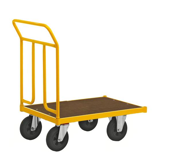 Plattformwagen, 700 x 454 mm, 400 kg Tragfähigkeit, Gelb, mit Bremsen