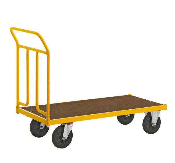Plattformwagen, 1200 x 604 mm, 400 kg Tragfähigkeit, Gelb, mit Bremsen