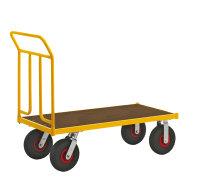 Plattformwagen, 1200 x 604 mm, 400 kg Tragfähigkeit, Gelb, luftbereift