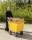 Abfallwagen 200 l, 1220x580x850 mm, 400 kg Tragfähigkeit, Gelb, luftbereift