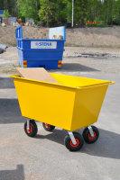 Abfallwagen 300 l, 1150x730x910 mm, 400 kg Tragfähigkeit, Gelb, luftbereift