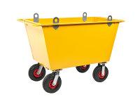 Abfallwagen 400 l, 1390x740x930 mm, 400 kg Tragfähigkeit, Gelb, luftbereift