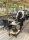 Transportwagen mit 2 Böden, voll verschweißter, 2 Ebenen, 840x430x970 mm, 150 kg Tragfähigkeit, Schwarz / Buchenholz, mit Bremsen