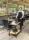 Transportwagen mit 2 Böden, voll verschweißter, 2 Ebenen, 840x430x970 mm, 150 kg Tragfähigkeit, Schwarz / Kirschholz, mit Bremsen