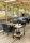 Transportwagen mit 2 Böden, voll verschweißter, 2 Ebenen, 840x430x970 mm, 150 kg Tragfähigkeit, Schwarz / Mahagoni, mit Bremsen