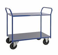 Etagenwagen mit 2 Böden, vollständig geschweißt, 2 Ebenen, 940 x 440 mm, 400 kg Tragfähigkeit, Blau, ohne Bremsen