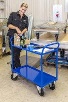 Etagenwagen mit 2 Böden, vollständig geschweißt, 2 Ebenen, 940 x 440 mm, 400 kg Tragfähigkeit, Weiß, ohne Bremsen