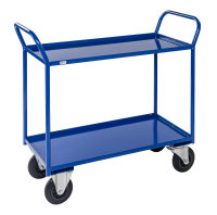 Etagenwagen mit 2 Böden, vollständig geschweißt, 2 Ebenen, 940 x 440 mm, 400 kg Tragfähigkeit, Blau, mit Bremsen