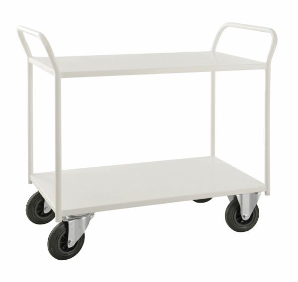 Etagenwagen mit 2 Böden, vollständig geschweißt, 2 Ebenen, 0 x  mm, 400 kg Tragfähigkeit, Weiß, ohne Bremsen