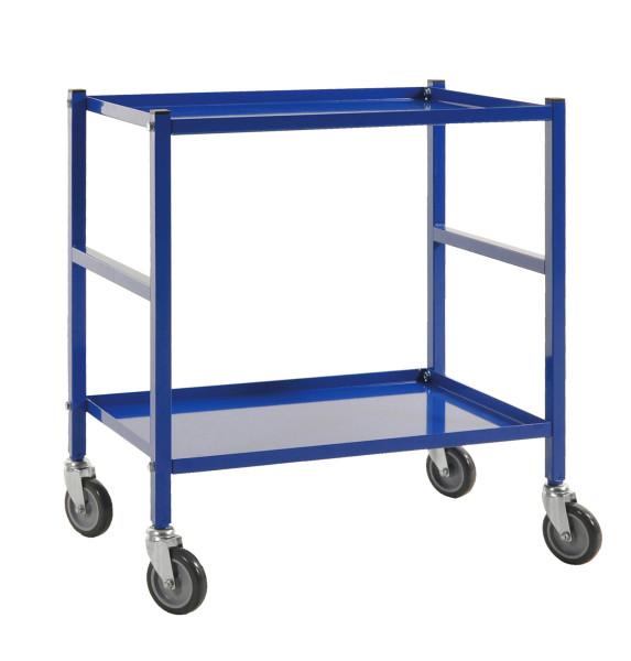 Tischwagen, 2 Ebenen, 625 x 414 mm, 150 kg Tragfähigkeit, Blau, mit Bremsen