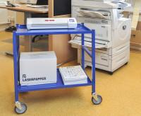 Tischwagen, 2 Ebenen, 625 x 414 mm, 150 kg Tragfähigkeit, Weiß, ohne Bremsen