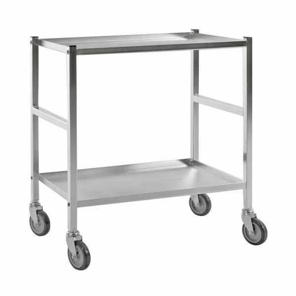 Tischwagen, 2 Ebenen, 625 x 414 mm, 150 kg Tragfähigkeit, Verzinkt, ohne Bremsen