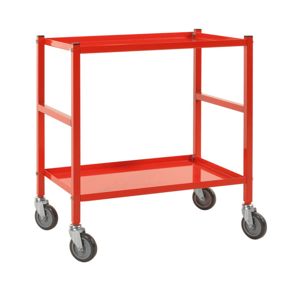 Tischwagen, 2 Ebenen, 625 x 414 mm, 150 kg Tragfähigkeit, Rot, ohne Bremsen