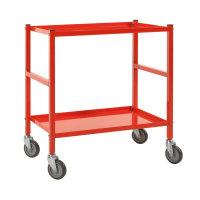 Tischwagen, 2 Ebenen, 625 x 414 mm, 150 kg Tragfähigkeit, Rot, mit Bremsen
