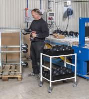 Tischwagen, 2 Ebenen, 625 x 414 mm, 150 kg Tragfähigkeit, Anthrazit grau, mit Bremsen