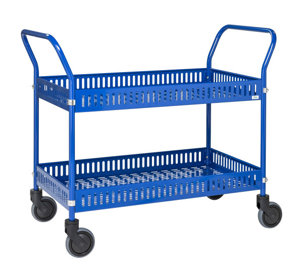 Tischwagen mit Rand, 2 Ebenen, 935 x 535 mm, 250 kg Tragfähigkeit, Blau, mit Bremsen