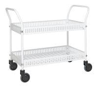Tischwagen mit Rand, 2 Ebenen, 935 x 535 mm, 250 kg Tragfähigkeit, Weiß, mit Bremsen