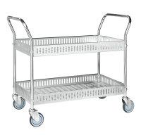 Tischwagen mit Rand, 2 Ebenen, 935 x 535 mm, 250 kg Tragfähigkeit, Verzinkt, ohne Bremsen