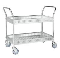 Tischwagen mit Rand, 2 Ebenen, 935 x 535 mm, 250 kg Tragfähigkeit, Verzinkt, mit Bremsen