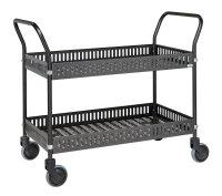 Tischwagen mit Rand, 2 Ebenen, 935 x 535 mm, 250 kg Tragfähigkeit, Anthrazit grau, ohne Bremsen