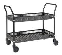 Tischwagen mit Rand, 2 Ebenen, 935 x 535 mm, 250 kg Tragfähigkeit, Anthrazit grau, mit Bremsen