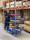 Leichter Etagenwagen, 3 Ebenen, 900 x 540 mm, 250 kg Tragfähigkeit, Blau, mit Bremsen