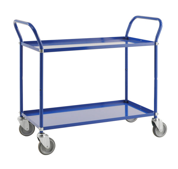 Leichter Etagenwagen, 2 Ebenen, 900 x 540 mm, 250 kg Tragfähigkeit, Blau, ohne Bremsen