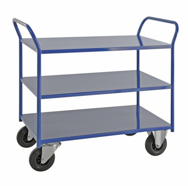 Etagenwagen mit 3 Böden, vollständig geschweißt, 3 Ebenen, 1080x450x975 mm, 400 kg Tragfähigkeit, Blau, ohne Bremsen