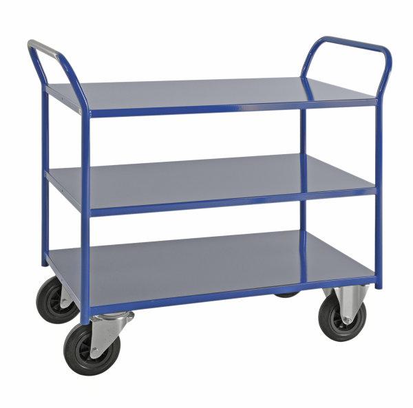 Etagenwagen mit 3 Böden, vollständig geschweißt, 3 Ebenen, 1080x450x975 mm, 400 kg Tragfähigkeit, Blau, mit Bremsen